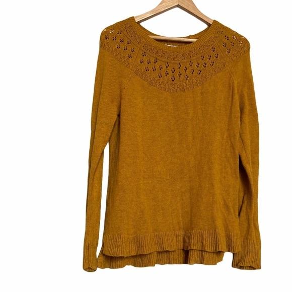 Sonoma Mustard Yellow Crew Neck Knit Sweater M